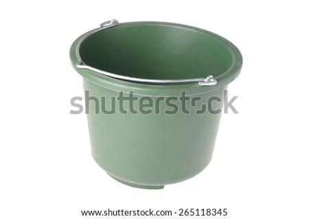 green bucket isolated on white - stock photo