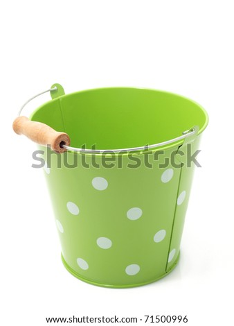 Green bucket on the white background - stock photo