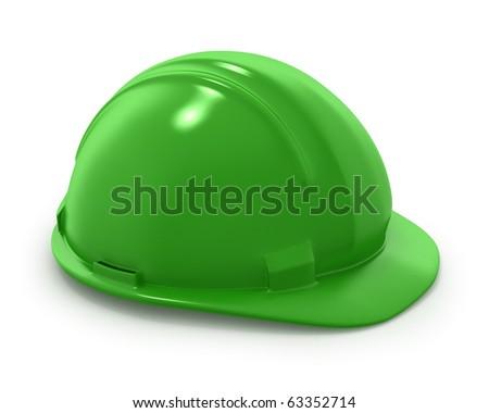 Green builder's helmet isolated on white background - stock photo