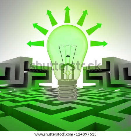 green bulb ecology with arrows above labyrinth illustration - stock photo