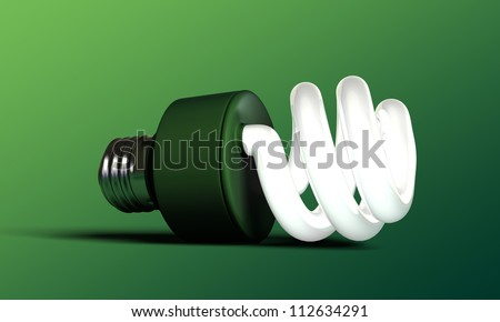 green bulb isolated on green background