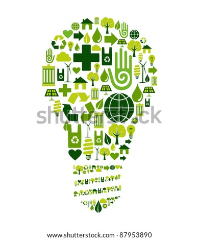 Green bulb silhouette made with environmental icons set. - stock photo