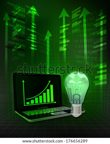 green bulb with positive online results in business illustration - stock photo