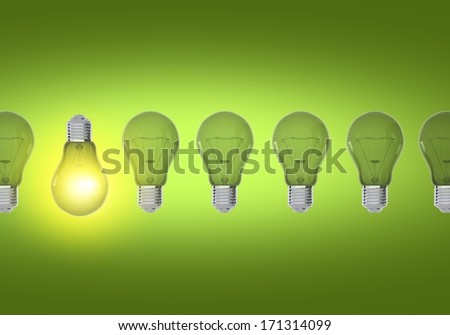 Green Bulbs Idea Concept Illustration. Only One Working Bulb.