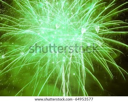 Green Burst..Firework Display Nottingham Riverside Festival - stock photo
