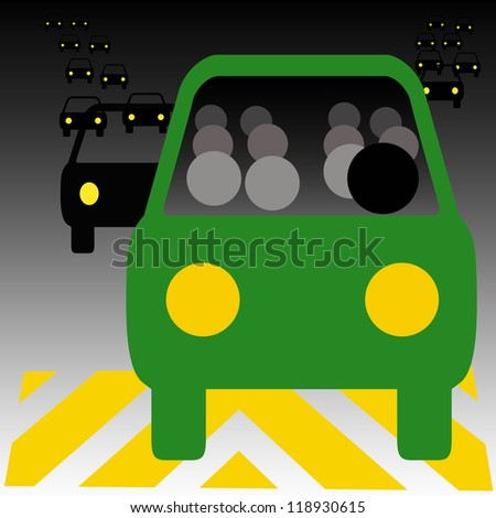 green bus in heavy traffic carpool illustration - stock photo