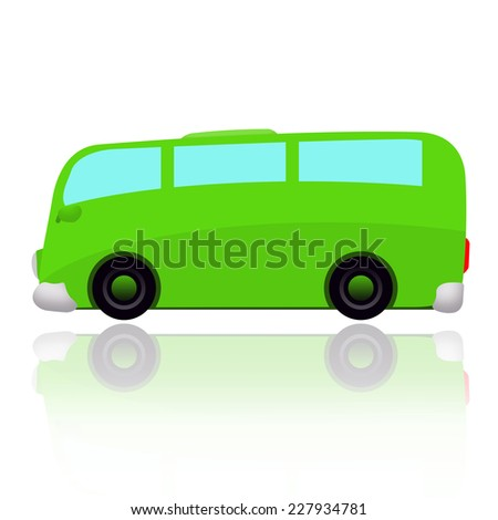 Green bus isolated over white background - stock photo