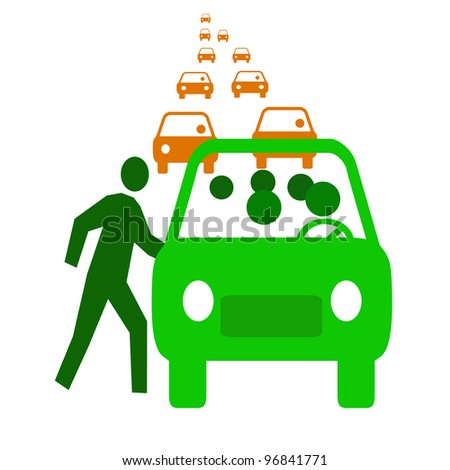 green bus with passengers in traffic  carpool illustration - stock photo
