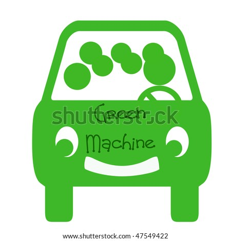 green bus with passengers on white background - stock photo