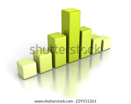 Green business bar chart graph on white background. 3d render illustration