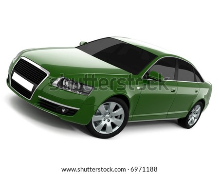 Green Business-Class Car On a White Background
