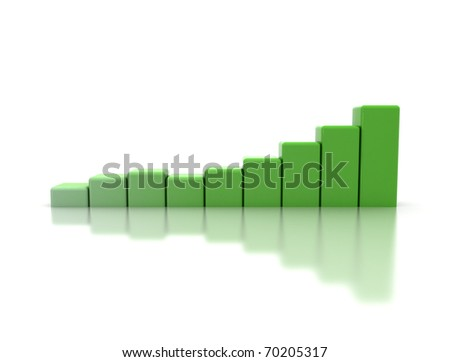 Green business graph - stock photo