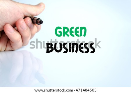 Green business text concept isolated over white background