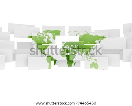 Green business world map on 3d squares - stock photo
