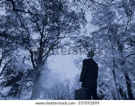 Green Businessman Thinking Inspiration Nature Concept