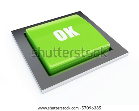 Green button isolated on a white background