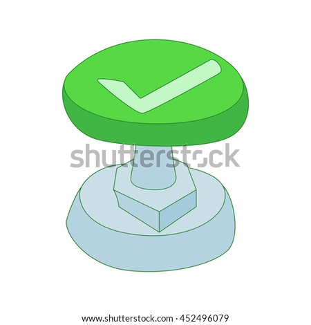 Green button with check mark icon in cartoon style isolated on white background - stock photo