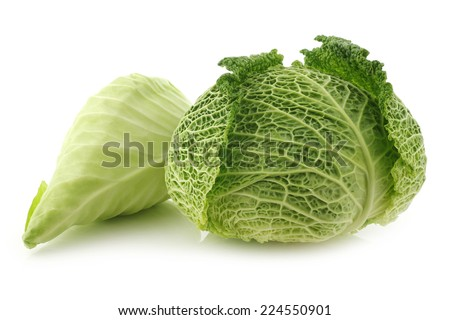 green cabbage and a pointed cabbage on a white background - stock photo
