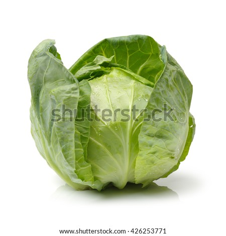Green cabbage isolated on white background - stock photo