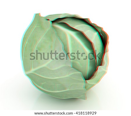 Green cabbage on a white background. 3D illustration. Anaglyph. View with red/cyan glasses to see in 3D.