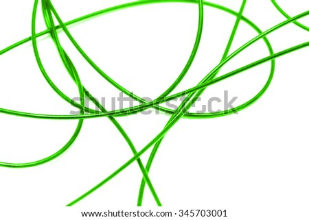 green cable on a white background - stock photo