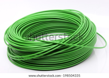 Green cable on white background - stock photo