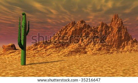 Green cactus in an orange and rocky desert - stock photo