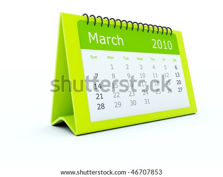 Green calendar isolated on white