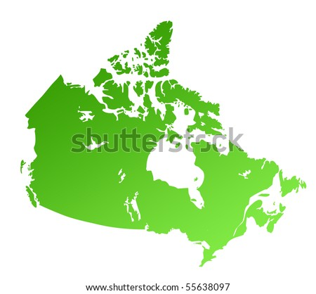 Green Canada map isolated on white background with copy space. - stock photo