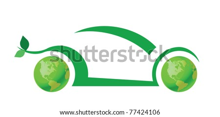 Green car concept isolated on white background - stock photo