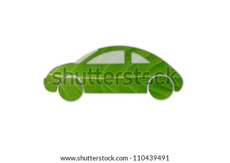 Green car for eco concept with shadow. Check out my gallery for more eco collection - stock photo