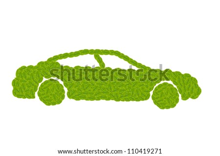 Green car made by leaf for eco concept, check out my gallery for more eco collection - stock photo