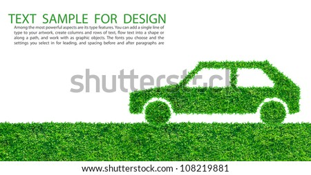 Green Car Logo Green Car Symbol From Grass