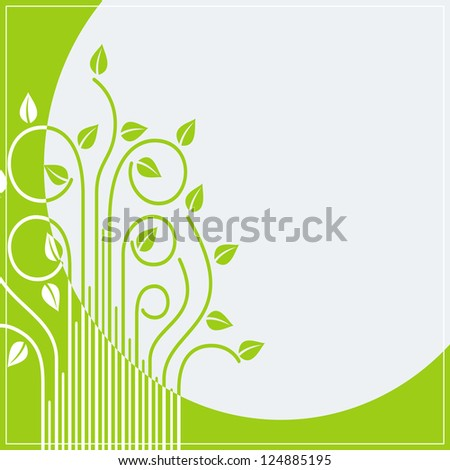 green card as abstract spring branches with leaves