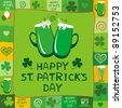 Green card with Beer mugs and the text St. Patrick's Day written inside, illustration - stock photo