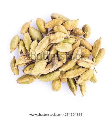 Green cardamom seeds isolated on a white background - stock photo