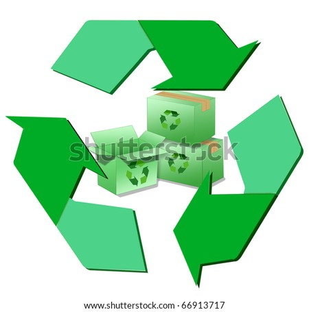 Green cardboard boxes with recycle symbols inside a larger recycle logo.