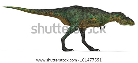 Green Carnivore Dinosaur from side - stock photo