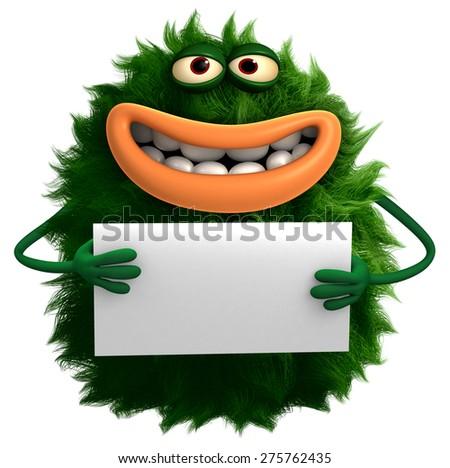 green cartoon hairy monster 3d - stock photo