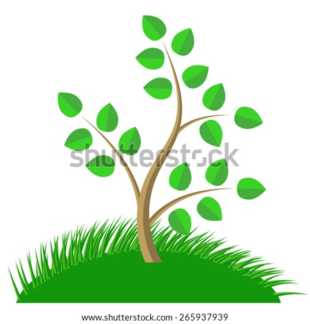 Green Cartoon Tree and Green Grass isolated on White Background.  - stock photo