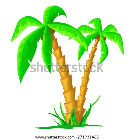 Green cartoon tropical palm isolated on white background - stock photo
