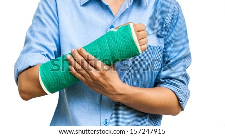 Green cast on an arm of a women isolated on white background - stock photo