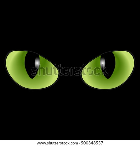 Green Cat Eyes On Black Background Illustration De Stock De