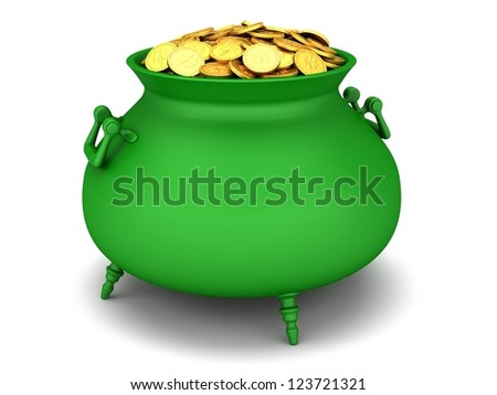 Green cauldron of golden coins on a white background. - stock photo