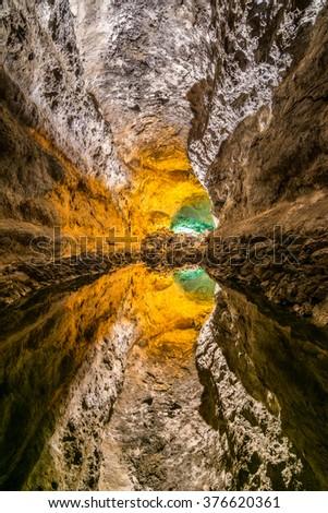 Green cave (Cueva de los Verdes) in Lanzarote, Canary Islands, Spain - stock photo