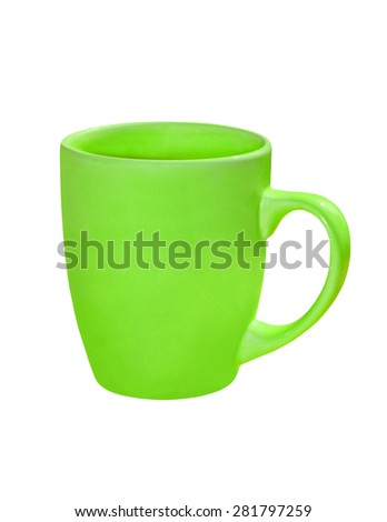 Green ceramic tea cup isolated on white background.