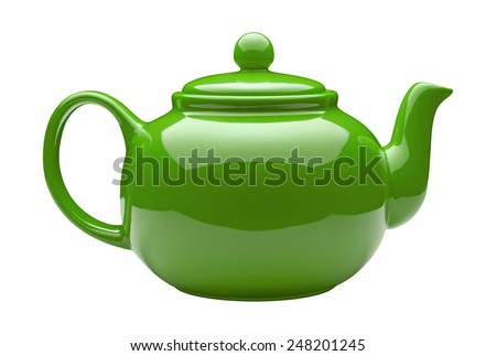 Green Ceramic Teapot isolated on white with a clipping path. - stock photo