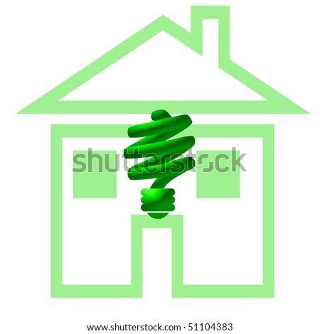 green CF compact fluorescent light and house illustration - stock photo