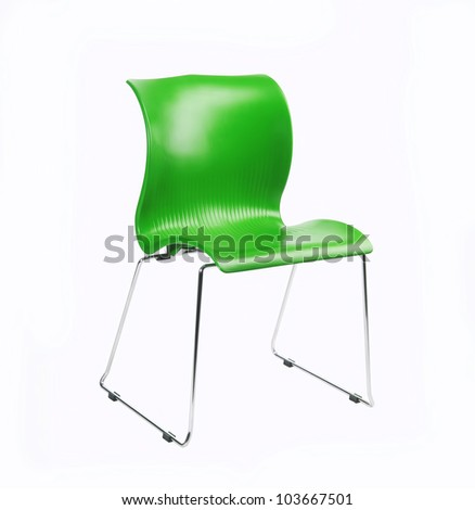 Green chair isolated on white background - stock photo