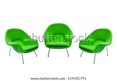 green chairs isolated with paths - stock photo